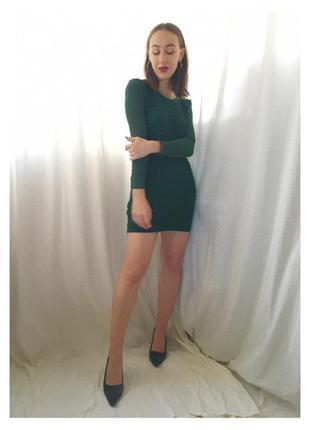 Платье матери драконов :) зелёное шерстяное короткое платье