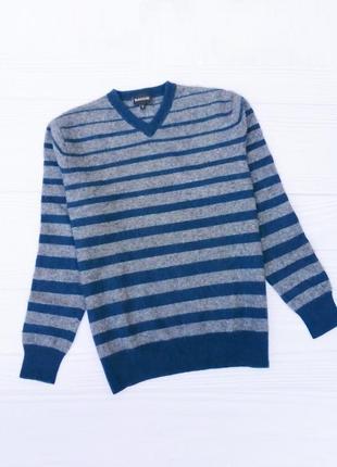 Зимний теплый осенний кашемировый шерстяной свитер в полоску