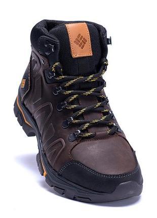 Мужские зимние кожаные ботинки columbia chocolate (реплика)