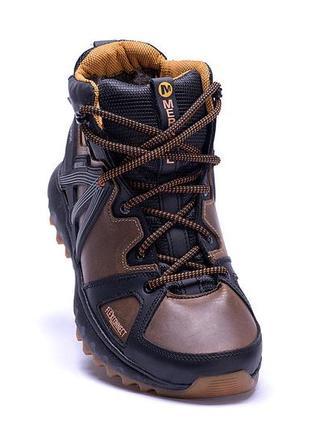 Мужские зимние кожаные ботинки merrell hyperlock olive (реплика)