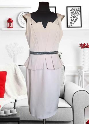 Платье нарядное с баской пудрового цвета coast