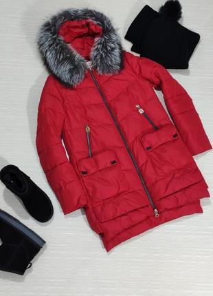 Теплая, зимняя куртка, парка, пуховик с натуральным мехом чернобурки