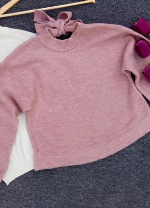 Теплый объемный свитер с завязкой сзади с шерсти ягненка  раз. м