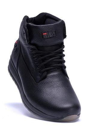 Мужские зимние кожаные ботинки fila soft men black