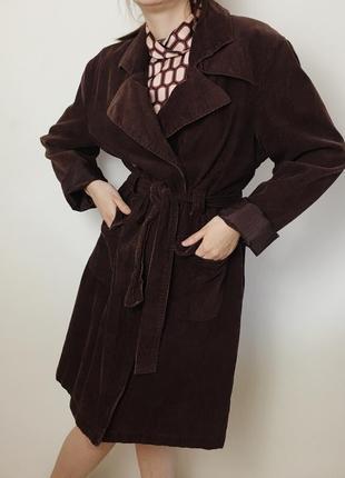 """Коричневый вельветовый оверсайз тренч пальто с поясом """"etam"""", размер l"""