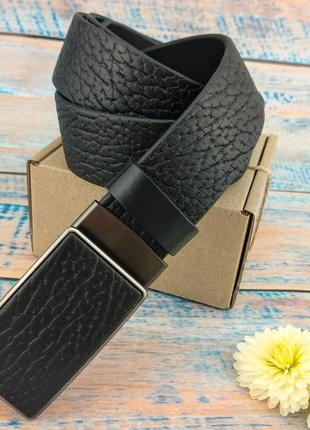 Ремень мужской кожаный jk-3590 с пряжкой-автомат из натуральной итальянской кожи