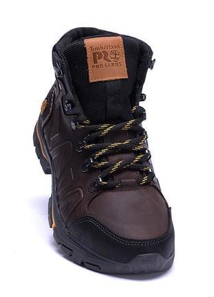 Мужские зимние кожаные ботинки timberland chocolate (реплика)