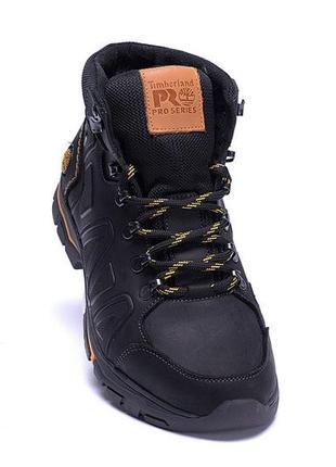 Мужские зимние кожаные ботинки timberland black (реплика)