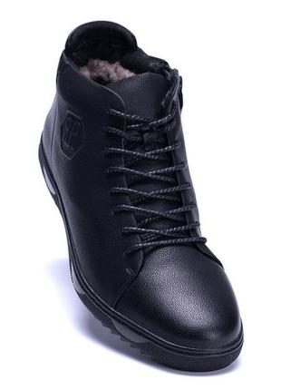Мужские зимние кожаные ботинки kungfu winter black