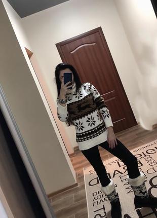 Очень тёплый свитер с оленями
