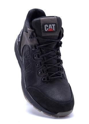 Мужские зимние кожаные ботинки caterpillar black (реплика)