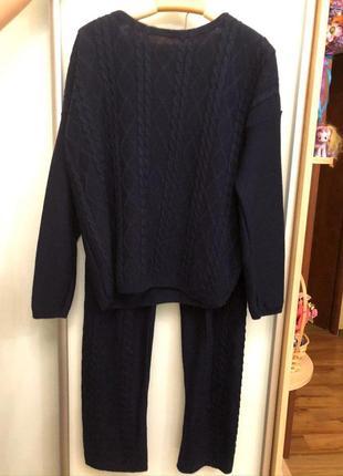 Вязаный костюм, синий цвет,50/50 хлопок, размер s-m