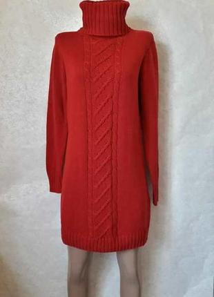 Фирменное esmara вязаное платье/туника в красном цвете с обёмным горлом, размер хл-2хл