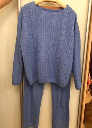 Вязаный костюм, голубой цвет,50/50 хлопок, размер s-m