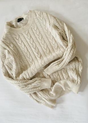Крутой актуальный вязаный свитер в косы h&m джемпер очень мягкий теплый альпака