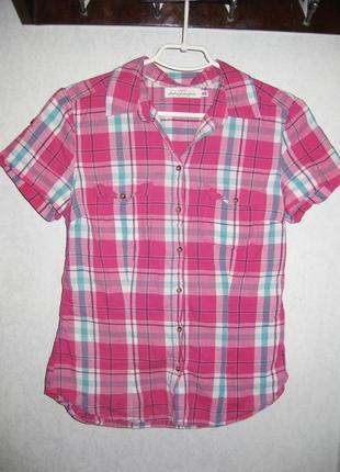 Рубашка короткий рукав h&m в клетку розовая голубая