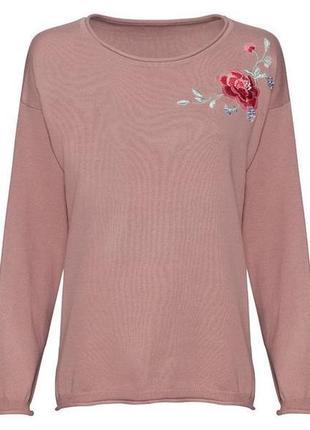 Женский пуловер с цветочной вышивкой esmara евро 44-46