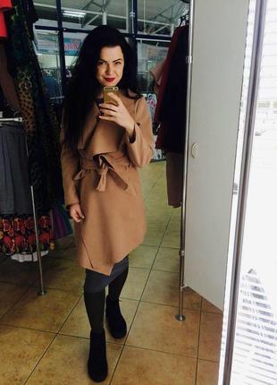 Стильное кашемировое пальто цвета капучино s m l