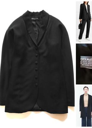 Шикарний чорний 100% шерсть жакет блейзер париж італія/піджак/шерстяной пиджак