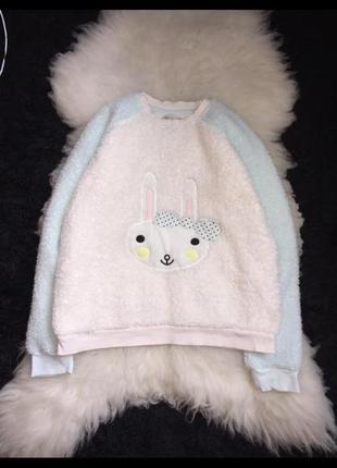 Махровая кофта от пижамы манжеты зимняя заяц