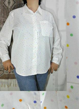 """Нежная рубашка от """"damart"""" в разноцветный горошек"""