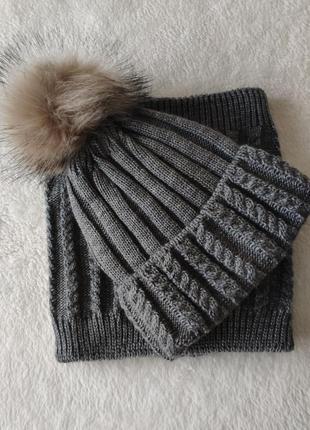 Серая шапка с помпоном и хомут , комплект