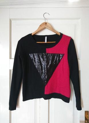Стильний теплий джемпер/светр, декорований паєтками від fishbone, на р. s/m