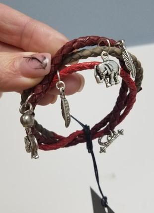 Кожаный браслет намотка, слон, перья, бохо, трайбл