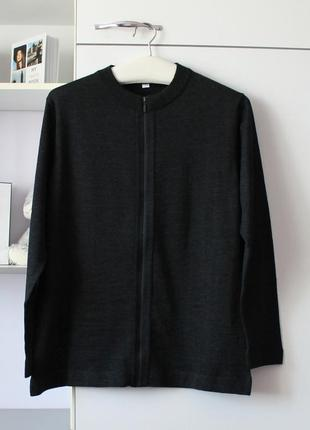 Серая кофточка с шерстью в составе на замочке от novia fashion