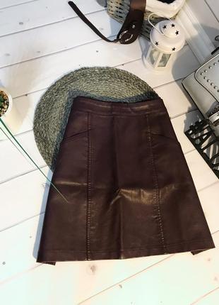 Марсаловая бордовая кожаная мини юбка