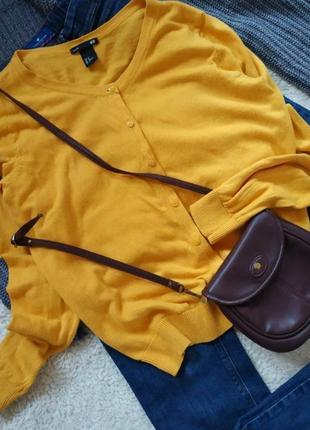 Жёлтый кардиган, накидка, джемпер, кардіган, кофта на пуговицах