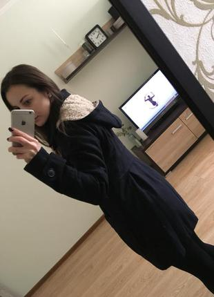 Пальто синее с капюшоном2