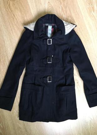 Пальто синее с капюшоном3