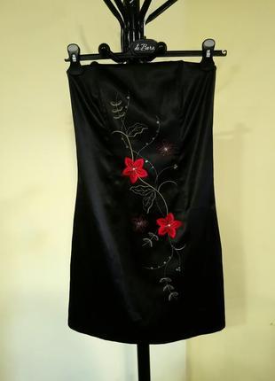 Черное платье без бретелей new look