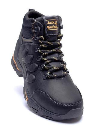 Мужские зимние кожаные ботинки jack wolfskin new black (реплика)