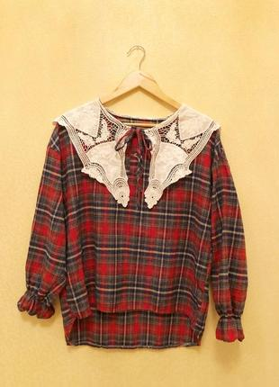 Блуза блузка кофта с воротником в клетку красная свитер