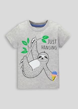Matalan. классная серая футболка с ленивцем. 12-18 мес.