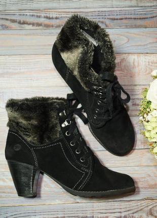 🌿39🌿tamaris. замша. фирменные ботинки, полусапожки на удобном каблуке