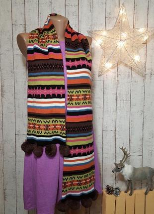 Идеальный шарфик разноцветный шарф с помпонами бубонами