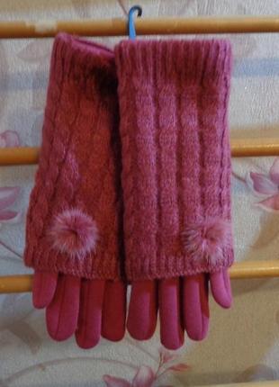 Модные, красивые и теплые  перчатки с хомутом. сенсорные пальцы