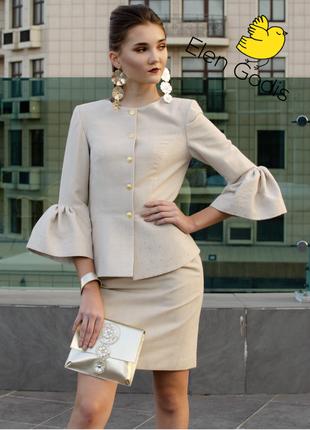 Шикарный белый костюм/юбка карандаш/приталенный жакет/из шерсти/от дизайнера elen godis