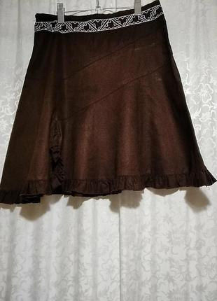 Okay.льняная юбка с вышивкой.