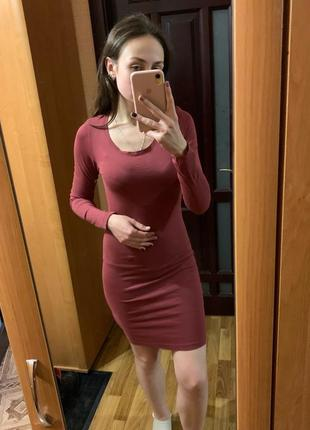 Платье футляр, платье, бордовое платье, платье house