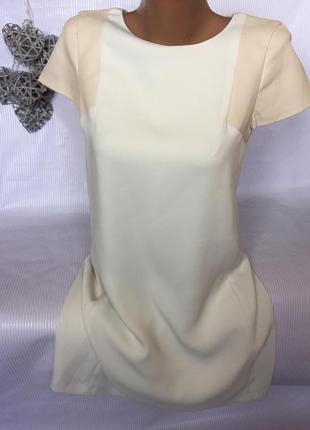 Крутое платье с кожаными рукавчиками zara