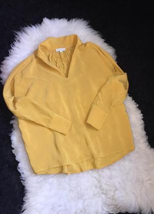 100% шёлк оверсайз рубашка блуза горчичная медовая шелковая натуральная