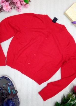 Красный укороченный кардиган свитер джемпер кофта от gap шерсть р s-m супер состояние