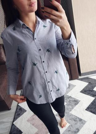 Удлиненная рубашка, блуза с вышивкой