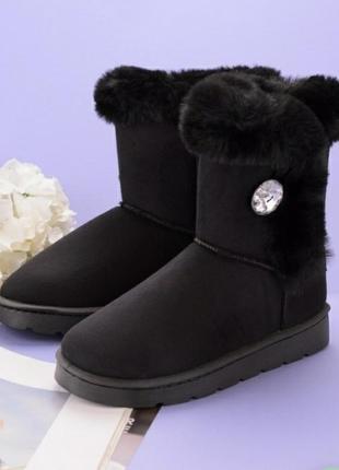 Стильные черные замшевые высокие угги зимние сапоги с мехом опушкой хит новинка тёплые