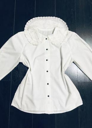 Шикарная винтажная блуза винтаж ретро натуральная хлопок воротник жабо выбитый прошва