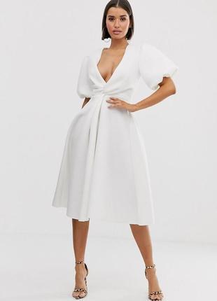 Роскошное неопреновое платье рукава-фонарики доставка сутки